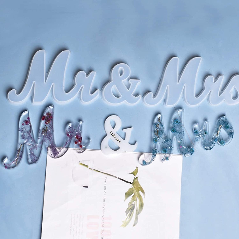 Molde Silicona Resina Mr /& Mrs para Decoraci/ón Boda Mesa Manualidades Artesan/ía DIY 3 Botes de Lentejuelas