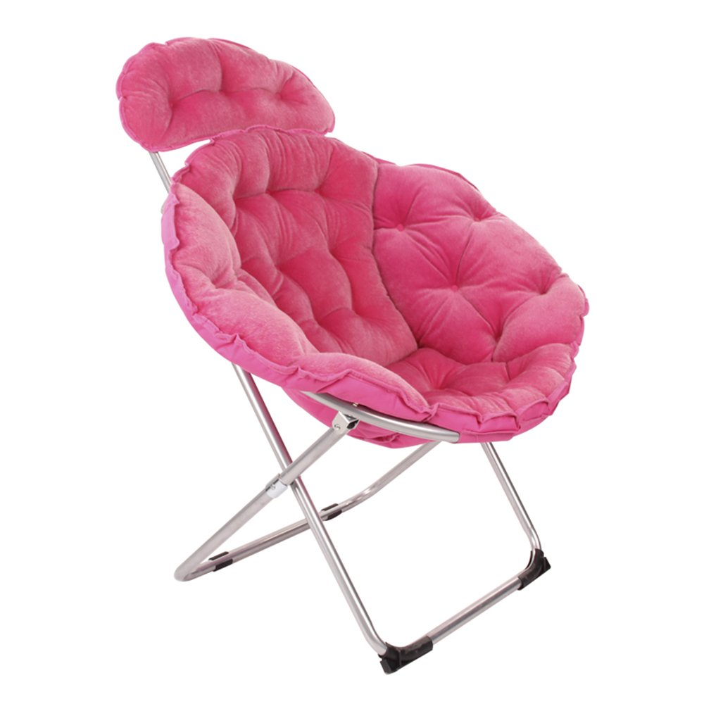 Folding chair / moon chair / lazy chair / lunch break deck chair / backrest / sun chair / round folding chair / casual home computer chair /Three colors available ( Color : Rose red )