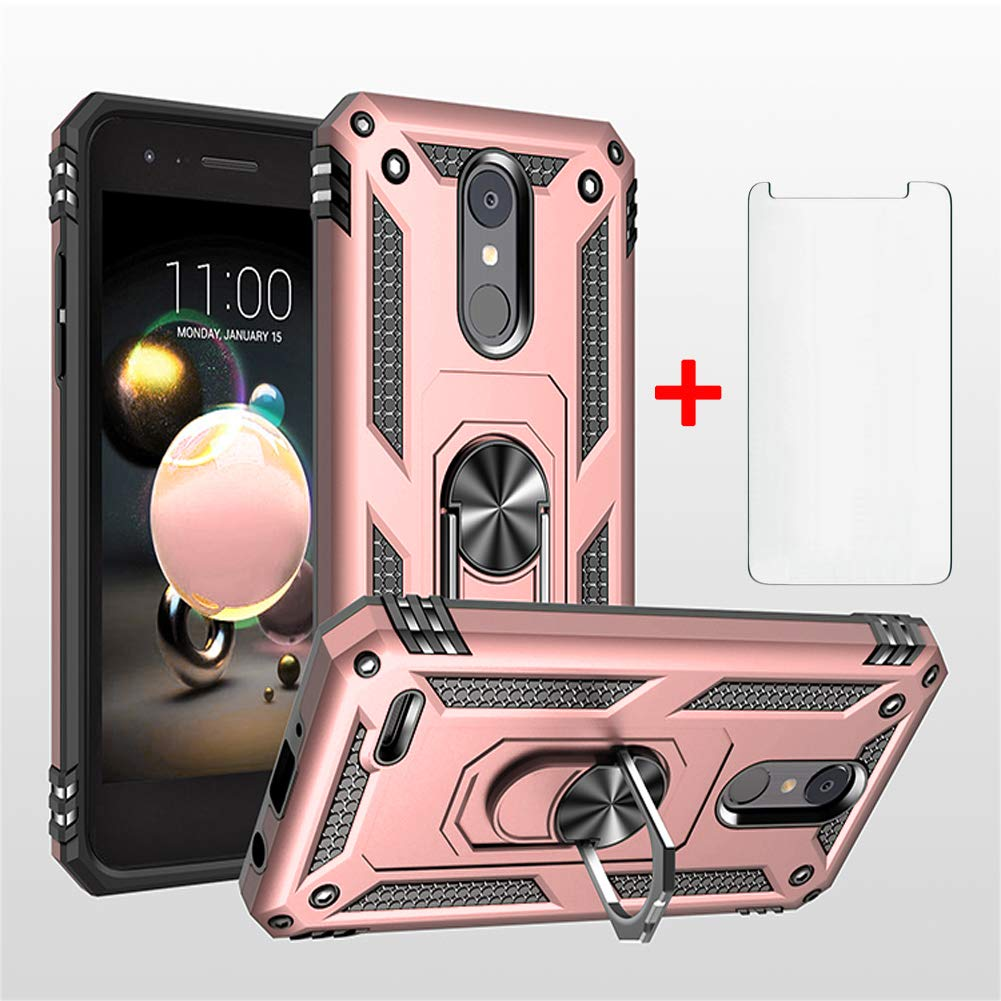 Asuwish Phone Case for LG Aristo 3 Fortune 2 Plus with Tempered Glass Screen Protector Ring Holder Stand Zone Phoenix Rebel 4 LTE Tribute Dynasty Empire Shockproof Back Cover (Rose Gold)