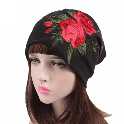 Fabal Women Embroidery Cancer Chemo Hat Beanie Scarf Turban Head Wrap Cap  (Black) e7be6fe7b5b7