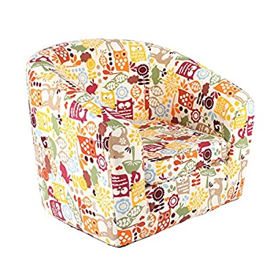 Emall Life Kid's Children's Roundy Chair Cartoon Sofa Wooden Frame, Under the Sea/ Balloon/ Animals/ Owl/ Flowers/ Bloom/ Flags