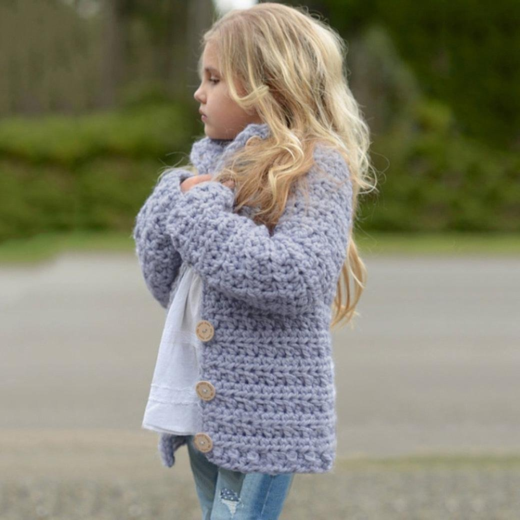 Sunbona Toddler Baby Girls Cute Autumn Button Knitted Sweater Cardigan Warm Thick Coat Clothes