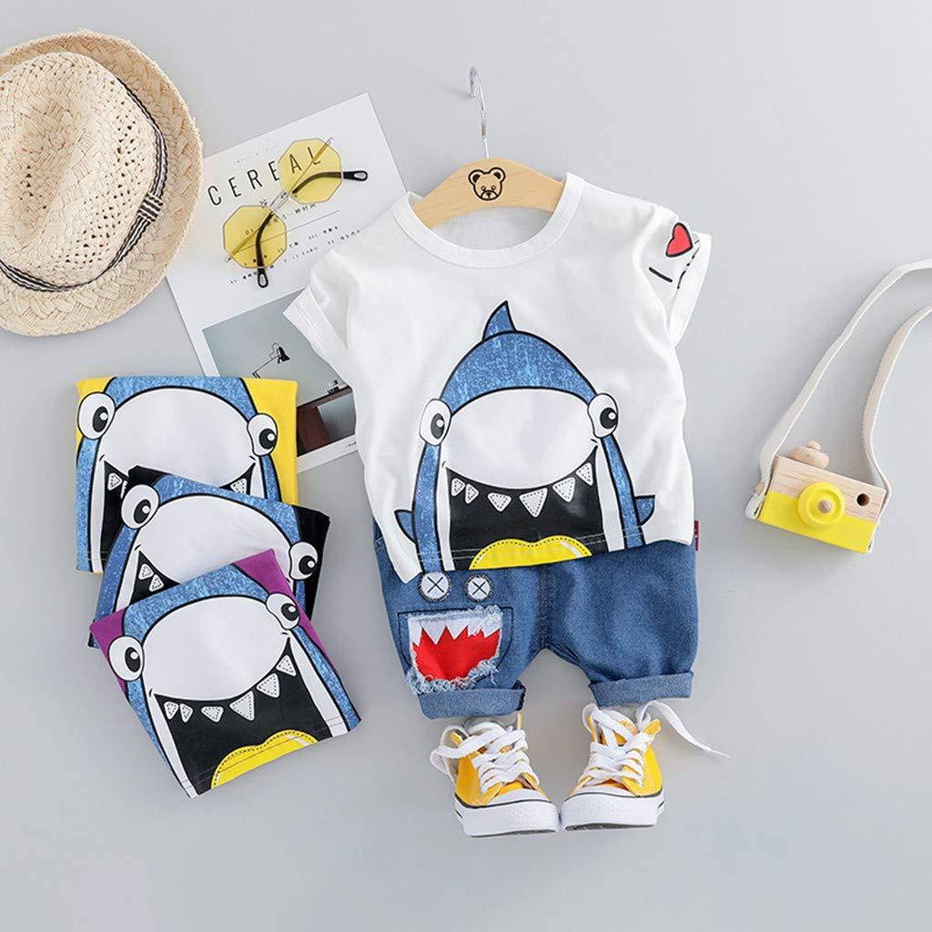 Toamen 2 Pezzi Bambino Piccolo Set di Abbigliamento Pantaloncini Tempo Libero Estivo Ragazzo Ragazza Manica Corta Stampa Squalo T-Shirt Top