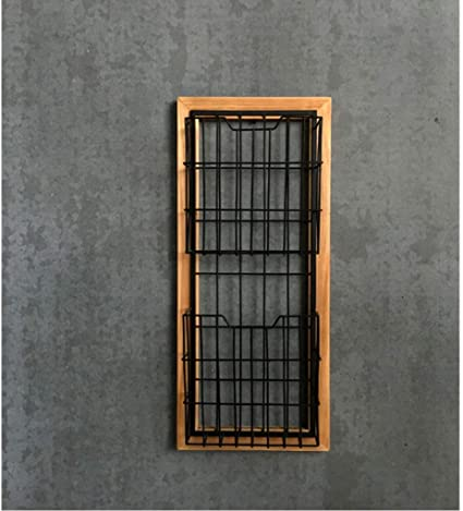 GAOJUNMEI Zeitungsst/änder Wand,Decorative Wall-Mount American Country Vintage Schmiedeeisen Wandbehang Zeitungsst/änder Zeitungsst/änder Aufbewahrungsbox Wanddekoration Schwarz