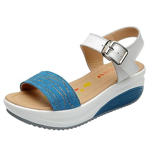 MljshPlatform Shoes - Sandalias Mujer, Color Negro, Talla 40 EU