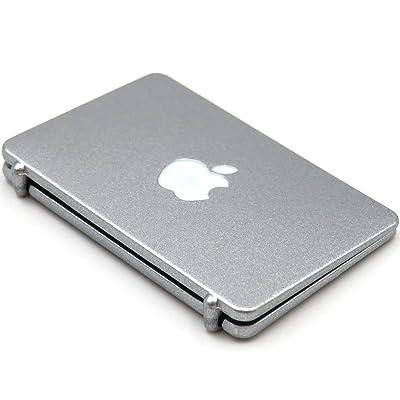 High Detail Miniature Silver Plastic Laptop Computer DOLLHOUSE 1:12