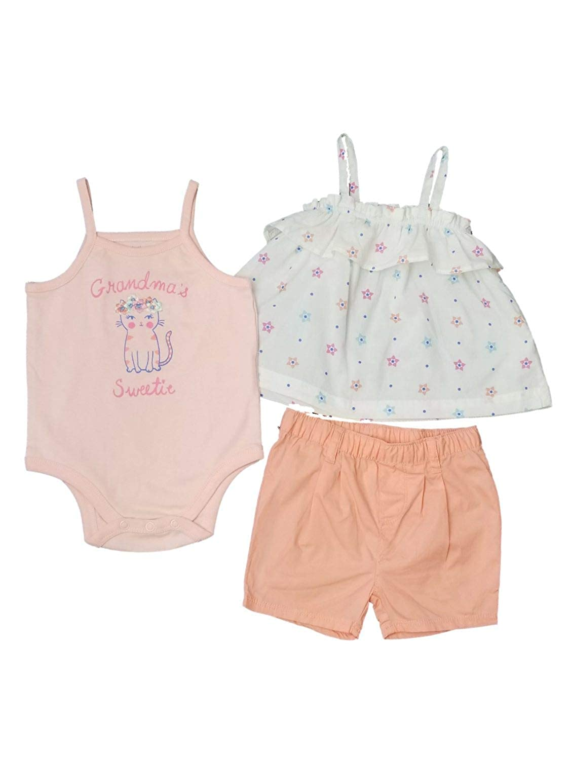 Little Wonders Infant Girls Baby Pink Peach Grandma Sweetie Top /& Matching Shorts Outfit