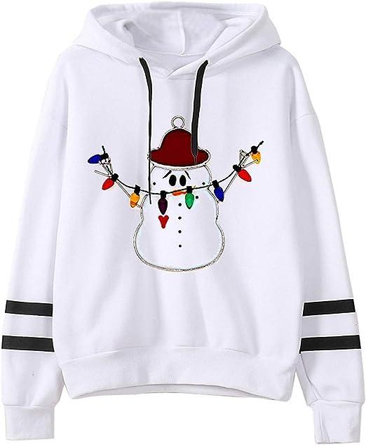 Women Christmas Snow Hoodie Sweatshirt Jumper Sweater Hooded Pullover Tops Shirt