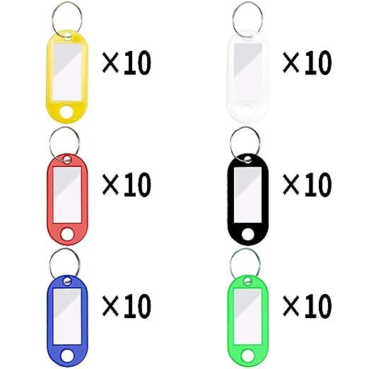 UNHO Paquete de 50pcs Etiquetas Llavero con Anillo de Pl/ástico con Papel de identificaci/ón Llavero Identificador de Pl/ástico con Etiquetas para Hotel Escuela Oficina Equipaje y Hogar Varios Colores