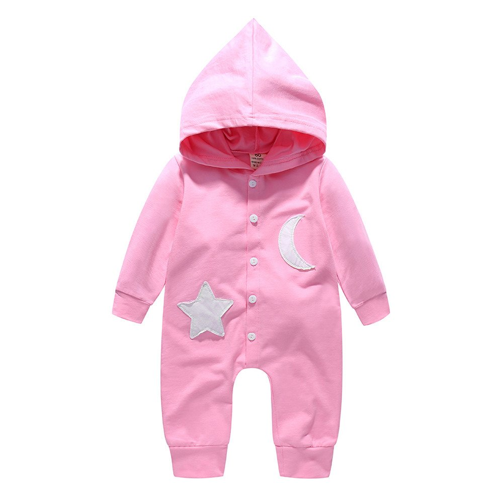 SHITOU Baby Girls Boys Star and Moon Hooded Romper Jumpsuit Outfits