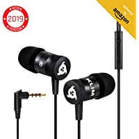 KLIM™ Fusion Earphones - Long-Lasting Earbuds Headphones with Microphone + 5 Years Warranty - Perfect for Sports, Travel, Music - Innovative in-Ear Memory Foam - 3.5mm Jack - 2019 Version - Black