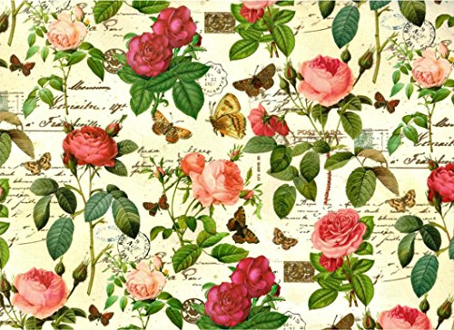 Roses and Letters with Gold Powder Rolled Decorative Gift Wrap Paper 2 Full Sheets