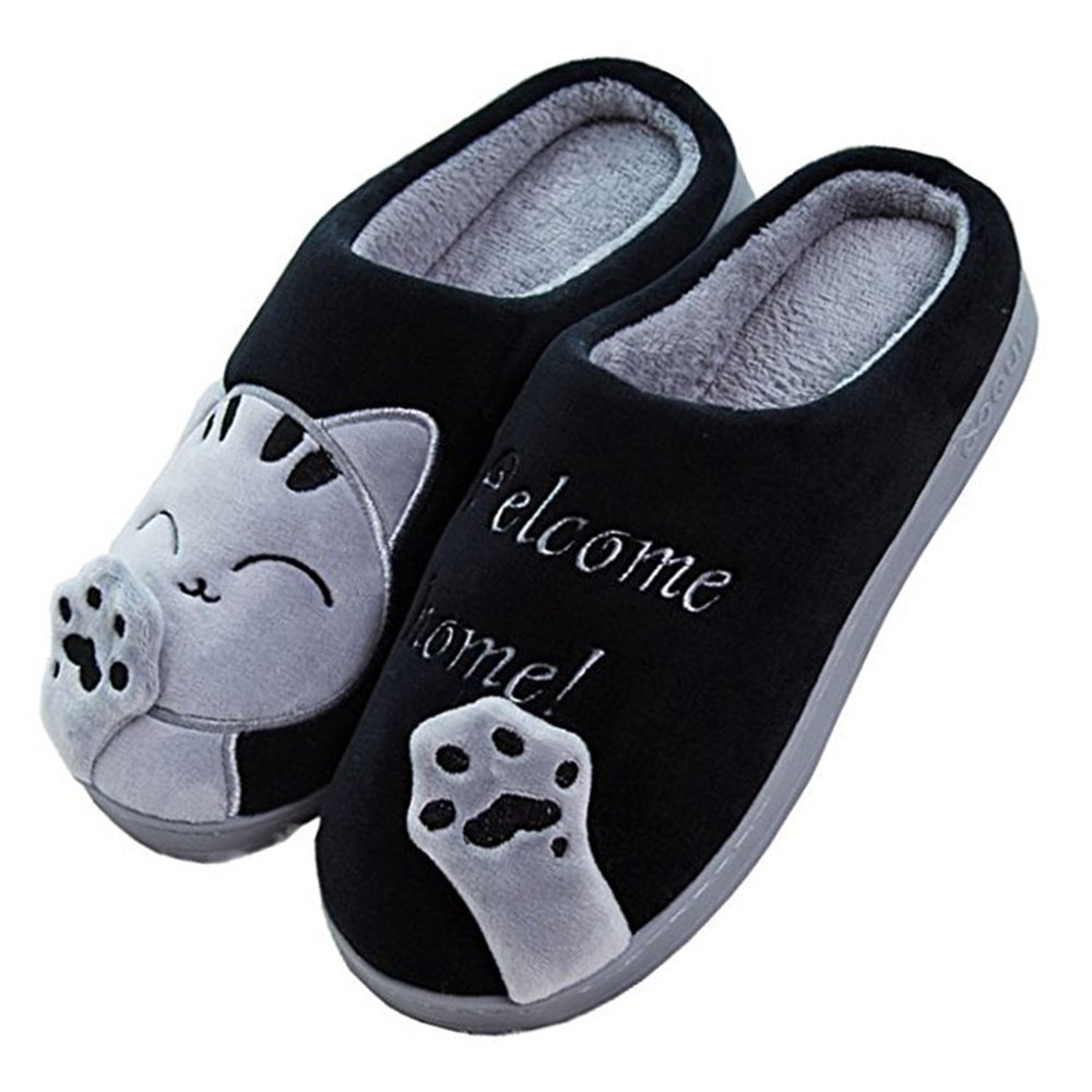 9668589c92ea0 Minetom Spring Winter Women Warm Soft Plush Home Cotton Slippers Cute Cat  Indoor Slippers For Men and Women and children: Amazon.co.uk: Shoes & Bags