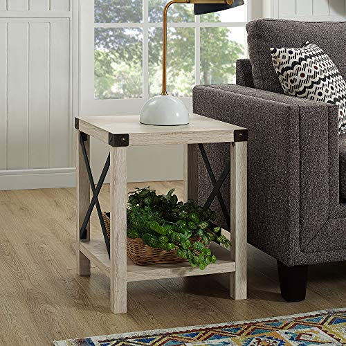 "WE Furniture AZF18MXSTWO Side Table 18"" White Oak"