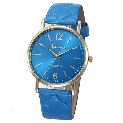 Xinantime Relojes Mujer,Xinan Mujeres PU Banda de Cuero Analógico Cuarzo Reloj Pulsera (Azul
