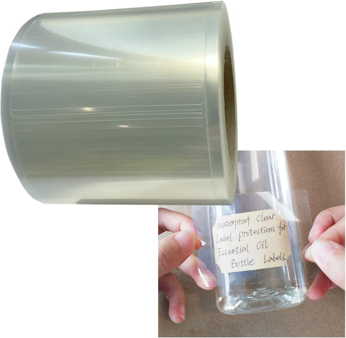 2.5x1.6 Inch Clear Waterproof Label Protectors for Essential Oil Bottle Labels and Food Jars Labels - 300 Barcode Label Protectors/Roll