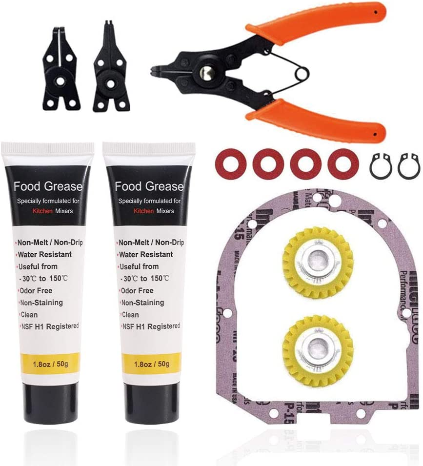 W10112253 Worm Gear & 4162324 Gasket - by Hubrother, Compatible With Whirlpool Kitchen Mixer 4162897, Replaces AP4295669 4161531, With 1.8 Oz Food Grade Grease & Circlip Pliers Set
