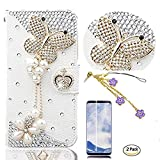 STENES Galaxy S9 Plus Case - 3D Handmade Butterfly Pearl Pendant Wallet Card Slots Fold Leather Cover Case Flowers Dust Plug,Screen Protector for Samsung Galaxy S9 Plus - White