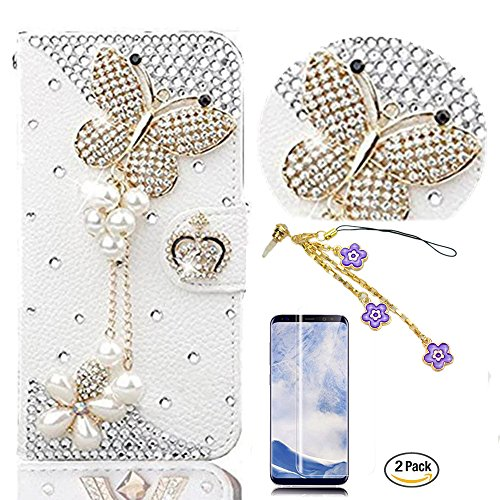 STENES Galaxy S9 Plus Case - 3D Handmade Butterfly Pearl Pendant Wallet Card Slots Fold Leather Cover Case with Flowers Dust Plug,Screen Protector for Samsung Galaxy S9 Plus - White