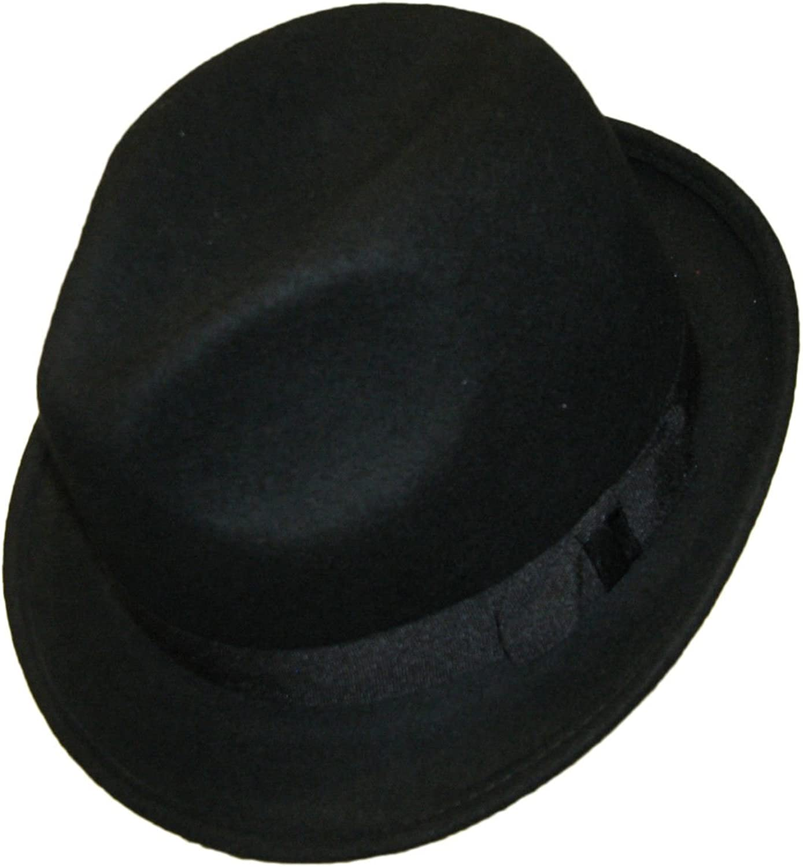 Major Wear Unisex Black 100/% Wool Hand Made Felt Fedora Trilby Hat with Band 4 Sizes