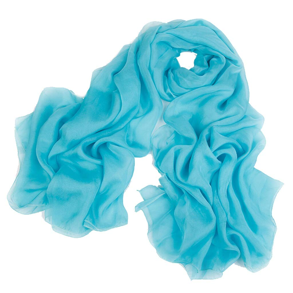 Water bluee KTYX Solid color Silk Scarf Ladies Silk Scarf Scarf (color   Green, Size   180  110cm)