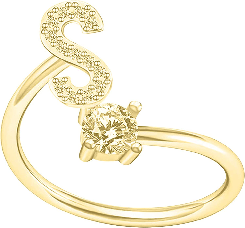 Ladies Jewelry Wedding Alphabet Ring for Women Fashion Couple Ring Opening Adjustable Ring