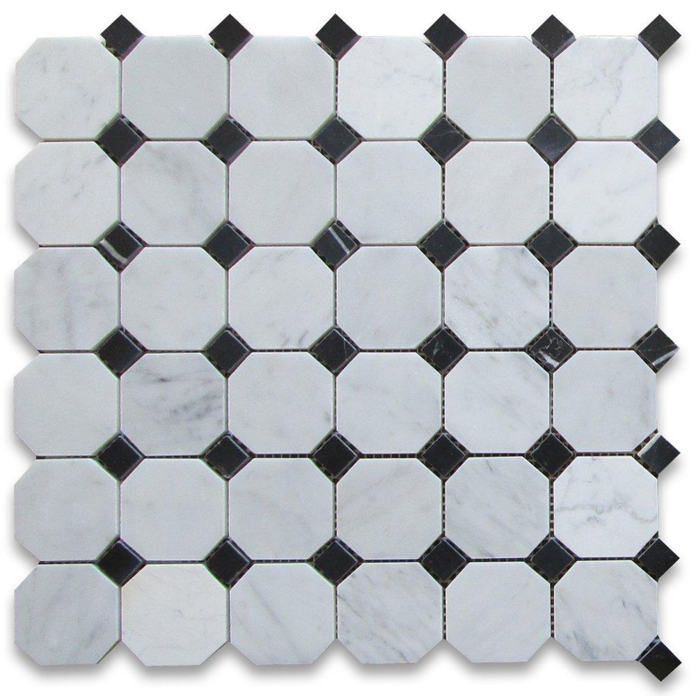 Carrara white italian carrera marble octagon mosaic tile black carrara white italian carrera marble octagon mosaic tile black dots 2 inch polished octagon floor tile amazon dailygadgetfo Images