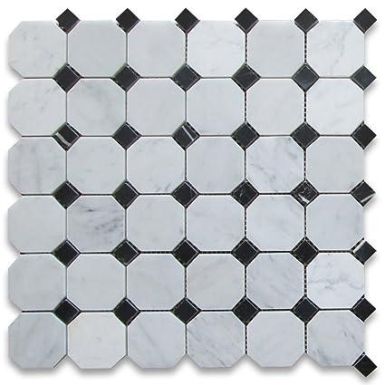 Carrara White Italian Carrera Marble Octagon Mosaic Tile Black Dots