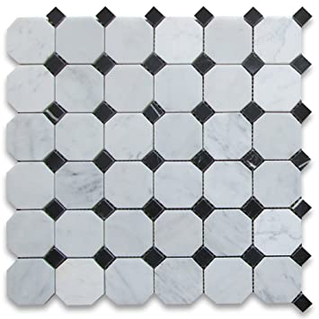 Octagon Floor Tile retro inspired octagon and dot bathroom floor tile Carrara White Italian Carrera Marble Octagon Mosaic Tile Black Dots 2 Inch Polished