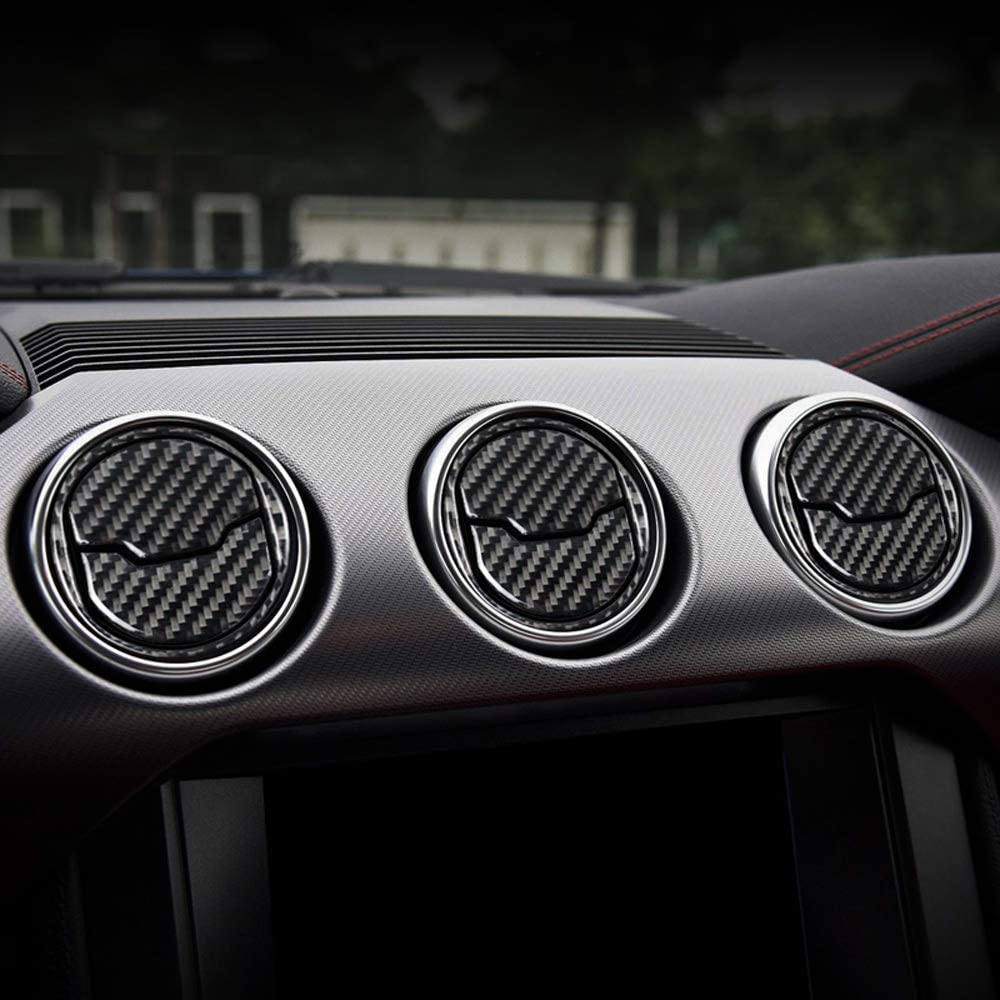 iJDMTOY 3-Set Black Carbon Fiber Overlay Trims For 2015-up Ford Mustang Center Dashboard AC Vent Cover Decoration