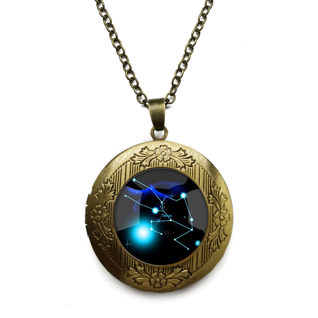 Vintage Bronze Tone Locket Picture Pendant Necklace 12 Constellation Included Free Brass Chain Gifts Personalized
