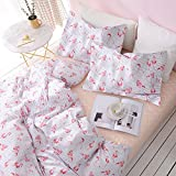 Wake In Cloud 3pc Cotton Duvet Cover Set, Twin-XL, White Pink Flamingo Deal (Small Image)