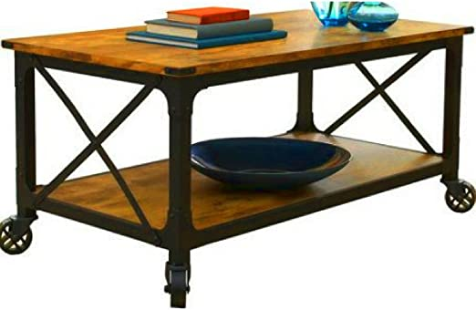 Amazon Com Rolling Coffee Table With Shelf Wooden Metal Pine