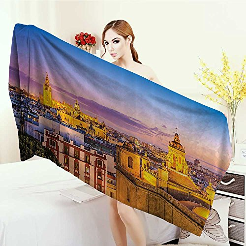 Anhounine Wrap Towels European Cityscape Decor Collection City Skyline in Spain Old Mediterranean Touristic Historic Nostalgic Print Home Quick-Dry Towels 63''x31.5'' Multi by Anhounine