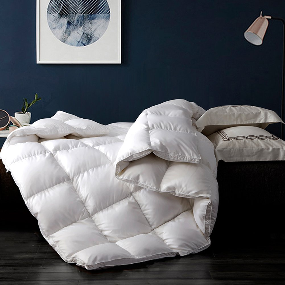 LUXURIOUS 1200TC GOOSE DOWN COMFORTER By COMHO, Queen Size Hypoallergenic Alternative Warm and Soft Duvet Insert, 1200 Thread Count, 850 Fill Power,50 Oz Fill Weight, 100% Egyptian Cotton Cover, White