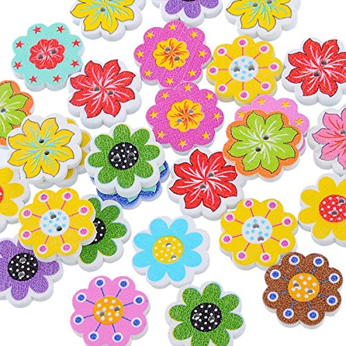 HOUSWEETY 50PCs Wooden Buttons Mixed Color Flower Shaped 2-hole Sewing Scrapbook DIY
