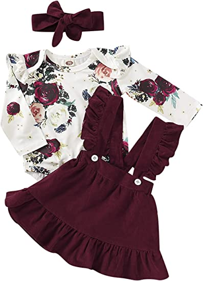 US Cute Newborn Toddler Baby Girls Flower Top Romper Velvet Pants Outfit Clothes