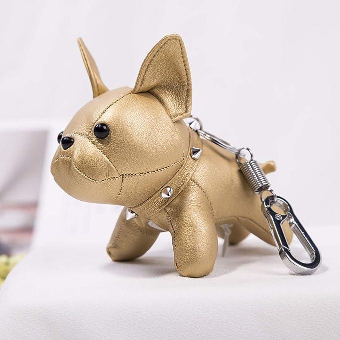 Amazon.com: Llavero de cuero con diseño de bulldog francés ...