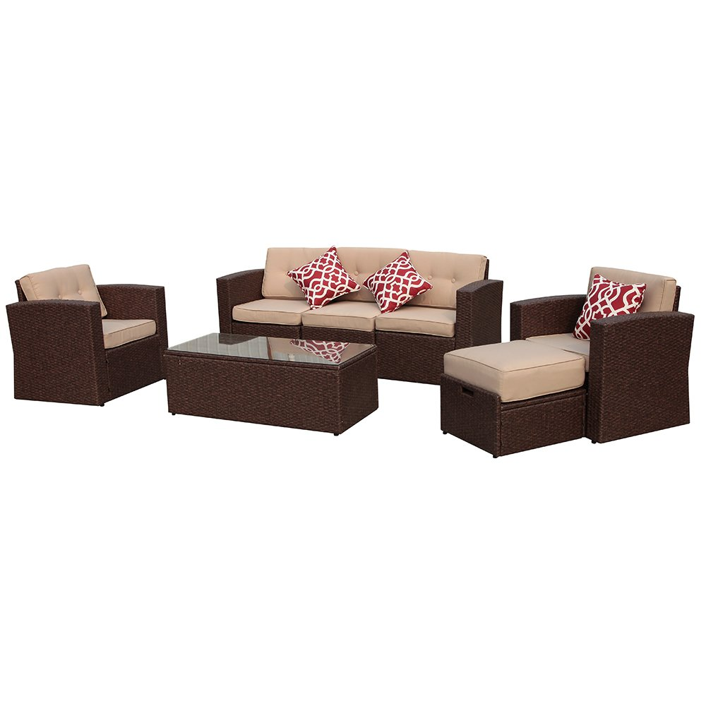 Super Patio 7 Pieces Outdoor Rattan Sectional Furniture Set with Beige Seat and Back Cushions, Red Throw Pillows, Aluminum Frame, Espresso Brown PE Wicker