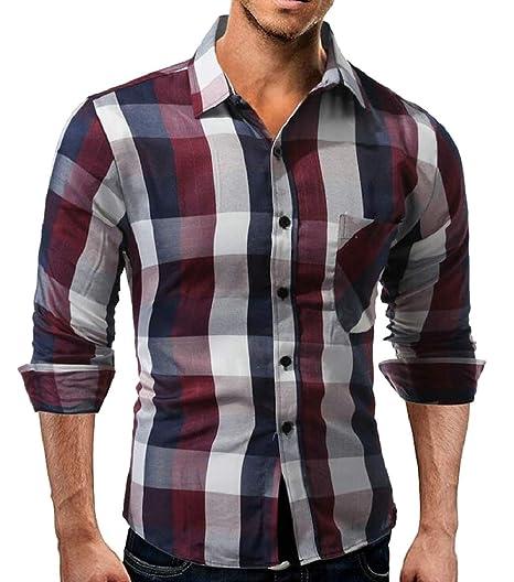 RRINSINS Mens Slim Casual Long Sleeves Button Down Dress Shirts