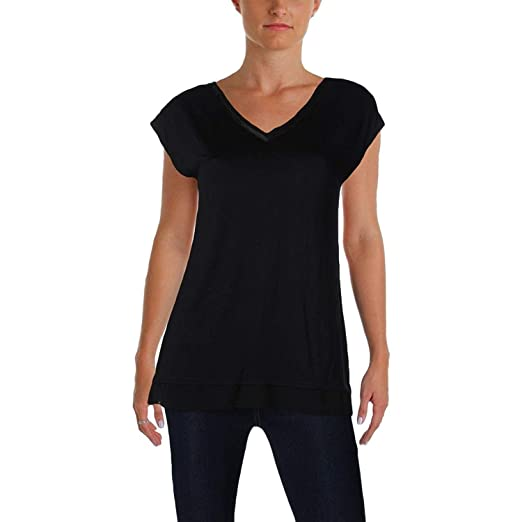 18b4cbcdd65d5 Marled Essentials Women's Double-V Illusion Casual Top Jet Black XL ...