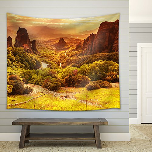 Meteora monasteries in Greece Fabric Wall Tapestry