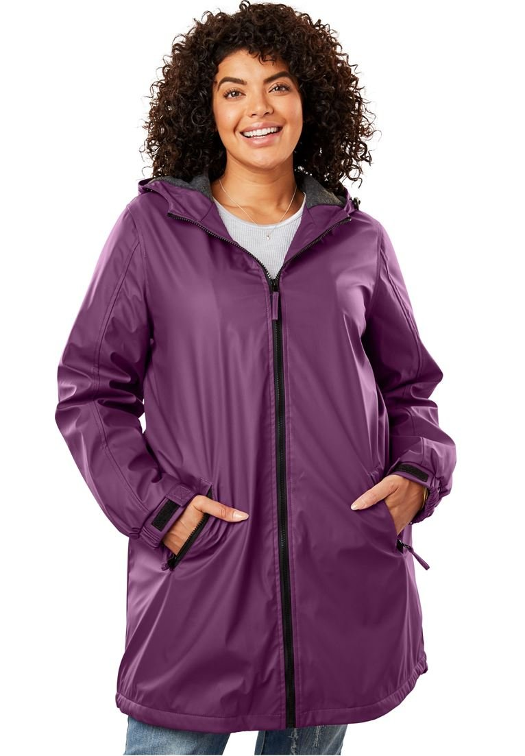 Women's Plus Size Hooded Slicker Raincoat Plum Purple,3X
