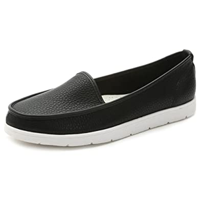 Summerwhisper Womens Comfort Low Top Loafers Slip on Flats Pumps Shoes Black 4 B(M