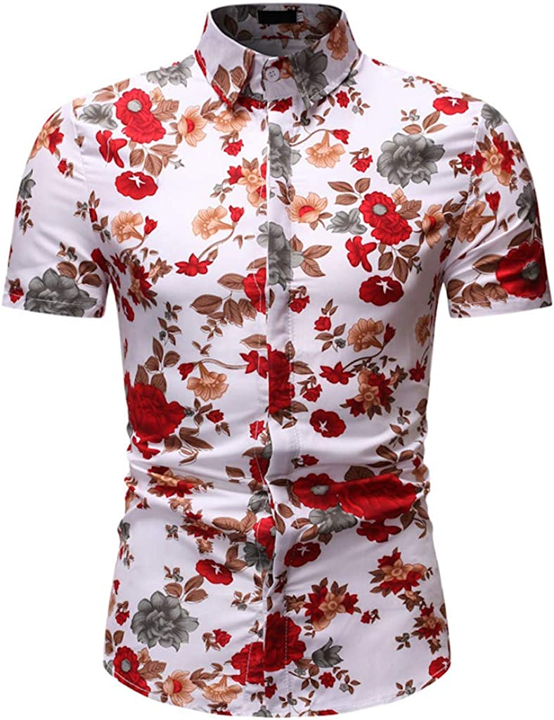 Shirts for Men Hawaii Floral Print Polo Blouse Short Sleeve Lapel Tops Tee Business Beach Shirt