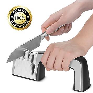Afilador de cuchillos, 4 en 1 cuchillo y tijeras afilador ...