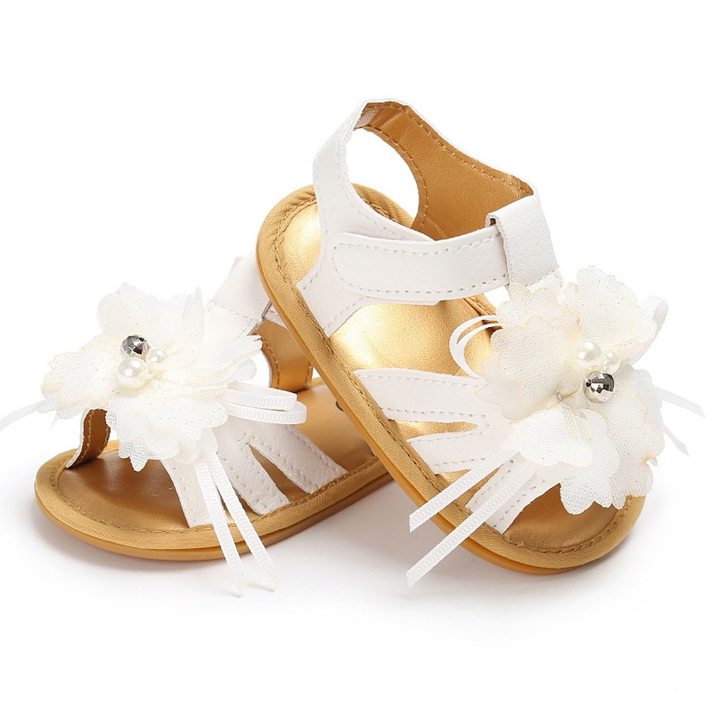 Toddler Baby Girl Summer Flower Decor Soft Rubber Sole Sandals Non-Slip First Walkers