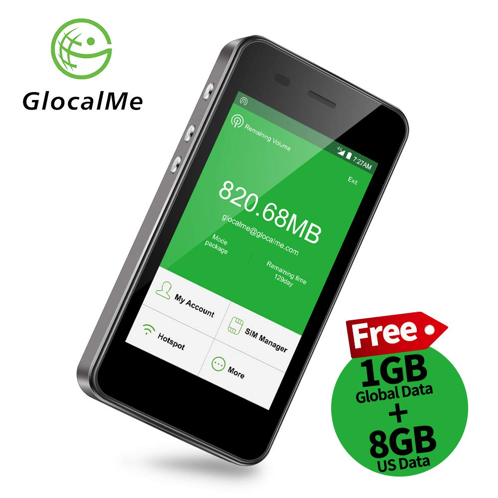 GlocalMe G3 4G LTE Mobile Hotspot, Worldwide Portable WiFi Device with 8GB US/CA/MX and 1GB Global Data. No SIM Card Roaming Charges, International Pocket WiFi Hotspot MIFI -Black