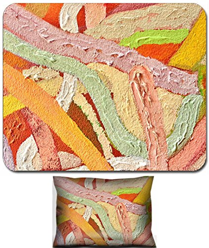 Liili Mouse Wrist Rest and Small Mousepad Set, 2pc Wrist Support Abstract Painted Wall Background Photo - Wall Abstract Painted
