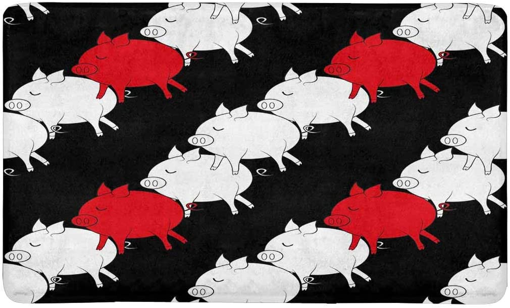 INTERESTPRINT Cute Pigs Doormat Anti-Slip Entrance Mat Floor Rug Indoor Outdoor Front Door Mat Home Decor, Rubber Backing 30 L x 18 W